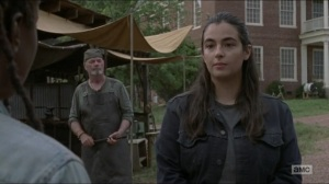 Evolution- Tara tells Michonne that Jesus is out looking for Eugene- The Walking Dead, AMC