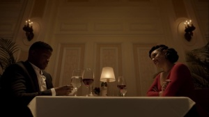 no Mercy- Reeva dines with Quinn, played by Sharif Atkins- The Gifted, Fox, X-Men