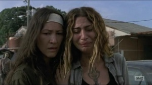 Stradivarius- Magna and Yumiko watch as Michonne kills Bernie- The Walking Dead, AMC
