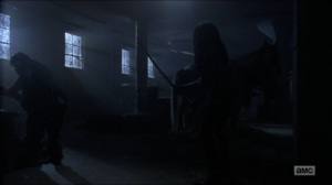 Stradivarius- Michonne approaches Luke- The Walking Dead, AMC