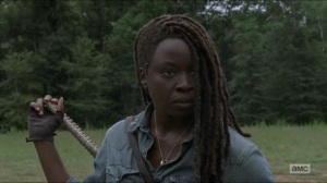 Stradivarius- Michonne refuses to give Magna's crew their weapons- The Walking Dead, AMC