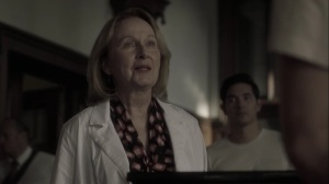 the dreaM- Dr. Madeline Garber, played by Kate Burton, greets Reed- The Gifted, Fox, X-Men