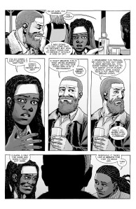 The Walking Dead #185- Rick, Michonne, and Elodie eat out at a restaurant