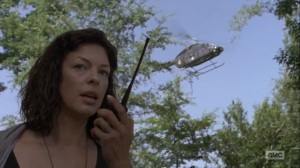 What Comes After- Jadis spots Rick and tells her radio contact that she has a 'B' ready- The Walking Dead, AMC