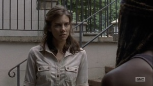 What Comes After- Maggie arrives in Alexandria and tells Michonne to step aside- The Walking Dead, AMC