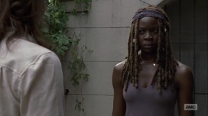 What Comes After- Michonne confronts Maggie after she arrives to kill Negan- The Walking Dead, AMC