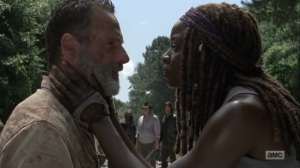 What Comes After- Michonne tells Rick to wake up- The Walking Dead, AMC