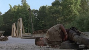 What Comes After- Rick collapses near the bridge- AMC, The Walking Dead