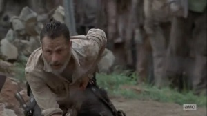 What Comes After- Rick frees himself from the rebar- The Walking Dead, AMC