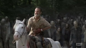 What Comes After- Rick leads the walker herd away- The Walking Dead, AMC