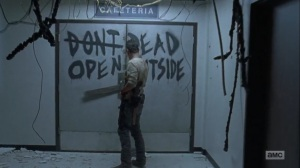 What Comes After- Rick opens a door at the hospital- The Walking Dead, AMC