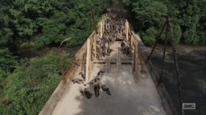 What Comes After- Walkers make it across the bridge and head towards Rick- The Walking Dead, AMC