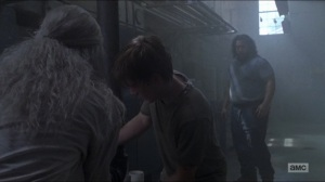 Who Are You Now- Carol and Henry tape up a bursting pipe- The Walking Dead, AMC