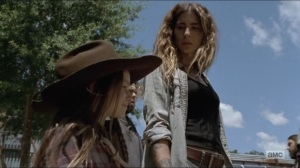 Who Are You Now- Judith brings Magna, played by Nadia Hilker, and company into Alexandria Safe Zone- The Walking Dead, AMC