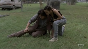 Who Are You Now- Rosita helps Eugene up- The Walking Dead, AMC