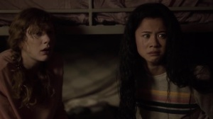hoMe- Young Blink and Lily, played by Given Sharp, hide from their foster father- Fox, X-Men, The Gifted