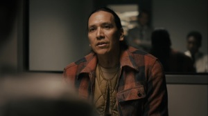 Kiss Tomorrow Goodbye- Brett Woodard, played by Michael Greyeyes, tells Wayne and Roland about when he last saw the Purcell kids- HBO, True Detective