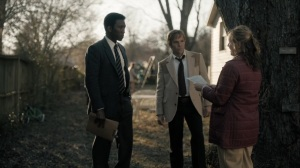 Kiss Tomorrow Goodbye- Roland and Wayne talk with a daycare employee, played by Jennifer Pierce Mathus, about Ted LeGrange- HBO, True Detective