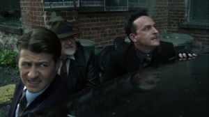 Ruin- Penguin, Jim, and Harvey take on fire from Zsasz- Fox, Gotham