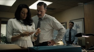 The Big Never- Amelia talks with detectives about Julie Purcell's fingerprints- HBO, True Detective