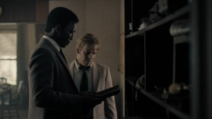 The Great War and Modern Memory- Wayne and Roland at the home of Brett Woodard- HBO, True Detective