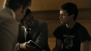The Great War and Modern Memory- Wayne and Roland question Ryan Peters, played by Brandon Flynn, about the Purcell kids- HBO, True Detective