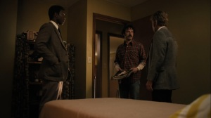 The Great War and Modern Memory- Wayne and Roland show Tom a stack of Playboy magazines- HBO, True Detective