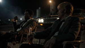 The Great War and Modern Memory- Wayne and Roland West, played by Stephen Dorff, shoot at rats- HBO, True Detective