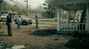 The Hour and the Day- Men assemble outside Brett Woodard's home- HBO, True Detective