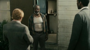 The Hour and the Day- Roland and Wayne speak with Sam Whitehead, played by John Earl Jelks- HBO, True Detective