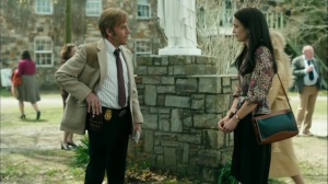 The Hour and the Day- Roland chats with Lori, played by Jodi Balfour- HBO, True Detective
