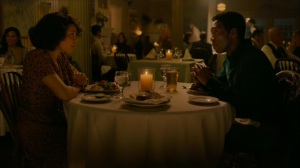The Hour and the Day- Wayne and Amelia flirt during dinner- HBO, True Detective