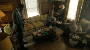 The Hour and the Day- Wayne and Roland talk with Patty Faber, played by Candyce Hinkle- HBO, True Detective