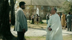 The Hour and the Day- Wayne asks the priest about Sam Whitehead- HBO, True Detective
