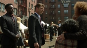 Trespassers- Lucius and Jim speak with a family at the safe haven- Fox, Gotham, DC