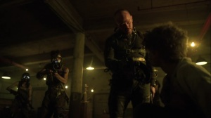 Trespassers- Sykes, played by Alex Morf, tells Gabriel, played by Will Meyers, to put on the mask- Fox, Gotham, DC