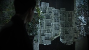 Ace Chemicals- Bruce finds newspaper clippings about the Wayne murders- Fox, Gotham