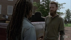 Adaptation- Aaron agrees with Michonne- AMC, The Walking Dead