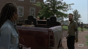 Adaptation- Aaron tells Michonne that she was right all along- AMC, The Walking Dead