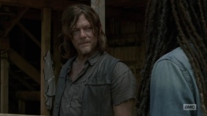 Adaptation- Daryl asks Michonne why he has to interrogate the prisoner- AMC, The Walking Dead