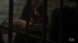 Adaptation- Daryl interrogates the prisoner- AMC, The Walking Dead