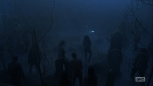 Adaptation- Fighting walkers in the cemetery- AMC, The Walking Dead