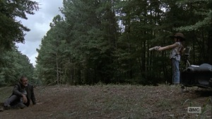Adaptation- Judith confronts Negan on the road- AMC, The Walking Dead