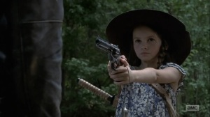 Adaptation- Judith tells Negan that people are looking for him- AMC, The Walking Dead