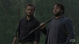Adaptation- Luke and Alden find a walker staring right at them- AMC, The Walking Dead