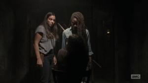 Adaptation- Michonne and Tara confront the prisoner- AMC, The Walking Dead