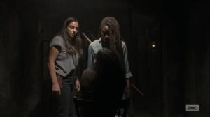 Adaptation- Michonne and Tara confront the prisoner- AMC, The Walking Dead