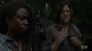 Adaptation- Michonne tells Daryl about the newcomers- AMC, The Walking Dead
