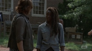 Adaptation- Michonne tells Daryl that the Hilltop needs him- AMC, The Walking Dead