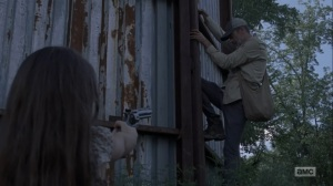Adaptation- Negan at Alexandria's gates when Judith stops him- AMC, The Walking Dead